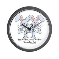 No Evil Bunnies Wall Clock