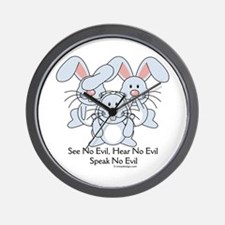 No Evil Bunnies Wall Clock