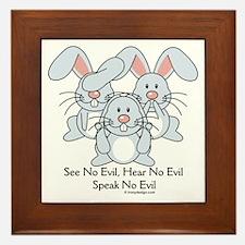 No Evil Bunnies Framed Tile
