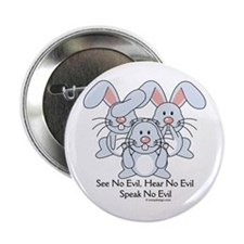 "No Evil Bunnies 2.25"" Button"