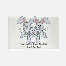 No Evil Bunnies Rectangle Magnet