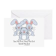 No Evil Bunnies Greeting Card