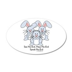 No Evil Bunnies Wall Decal