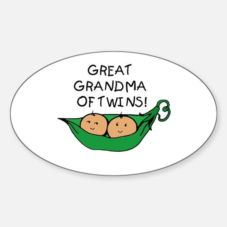 Great Grandma Twins Pod Oval Decal