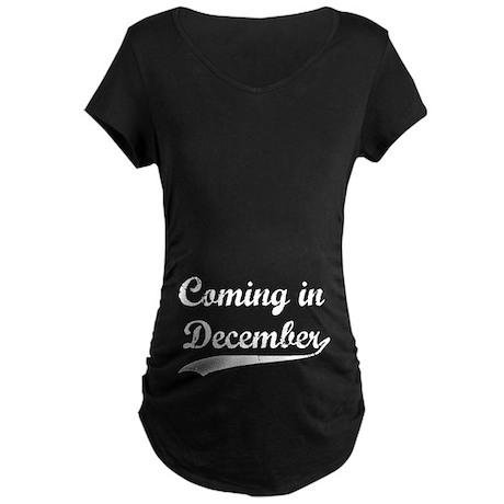 Coming in December Maternity Dark T-Shirt