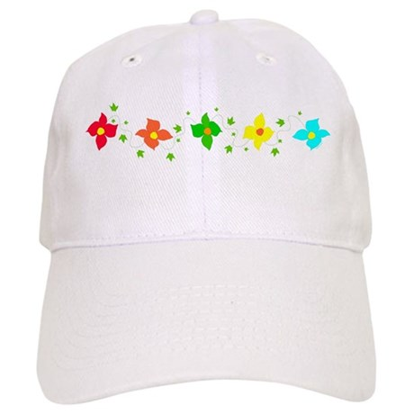 Rainbow Flowers on Baseball Hat