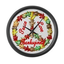 Thanksgiving Peace Sign Large Wall Clock