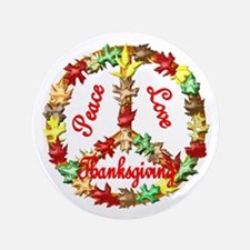 "Thanksgiving Peace Sign 3.5"" Button"