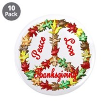 "Thanksgiving Peace Sign 3.5"" Button (10 pack)"