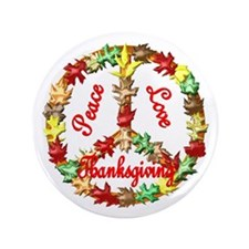 "Thanksgiving Peace Sign 3.5"" Button (100 pack)"