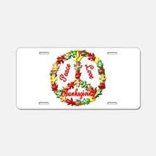 Thanksgiving Peace Sign Aluminum License Plate