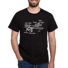 Small Plane Black T-Shirt
