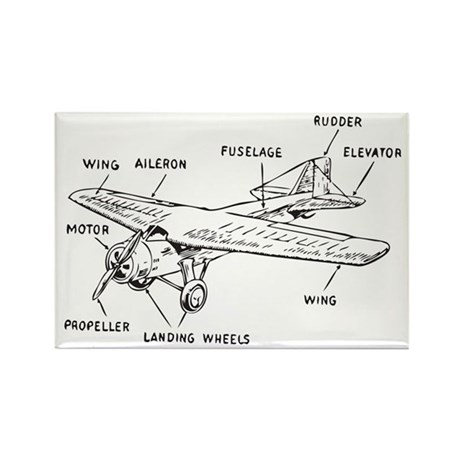Small Plane Rectangle Magnet (10 pack)
