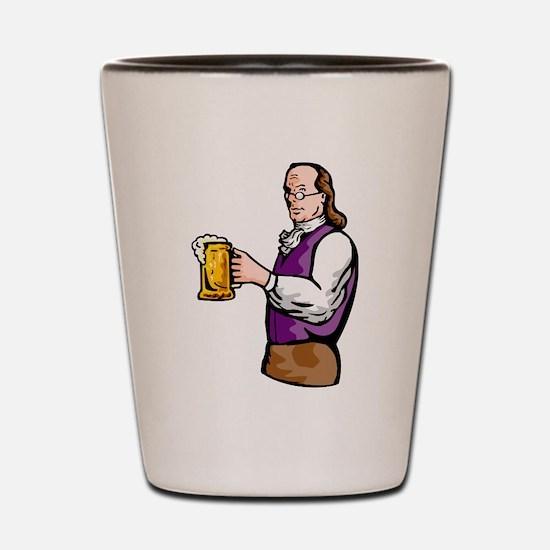 benjamin franklin beer Shot Glass