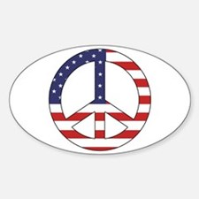 Peace Sign (American Flag) Oval Decal