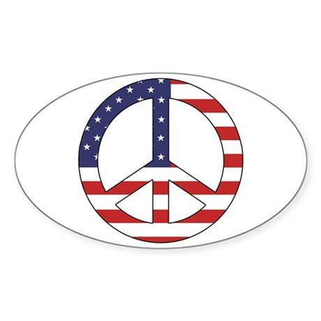 Peace Sign (American Flag) Oval Sticker