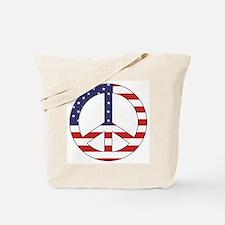 Peace Sign (American Flag) Tote Bag