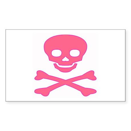 Pink Skull and Crossbones Sticker (Rectangle)