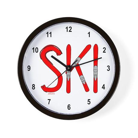 Ski Skis Wall Clock