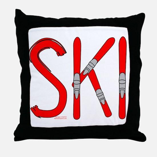 Ski Skis Throw Pillow