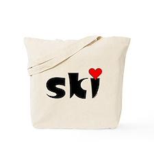 Ski Small Heart Tote Bag