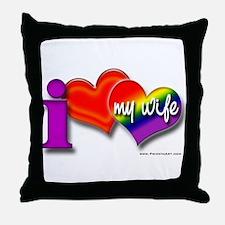 I love my wife - gay Throw Pillow