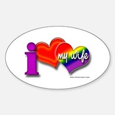 I love my wife - gay Oval Decal