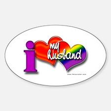 I love my husband - gay Oval Decal