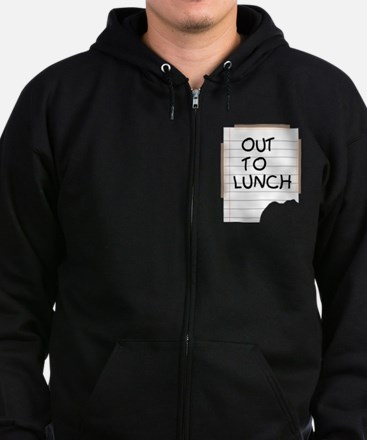 Out To Lunch Note Zip Hoodie (dark)