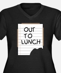 Out To Lunch Note Women's Plus Size V-Neck Dark T-