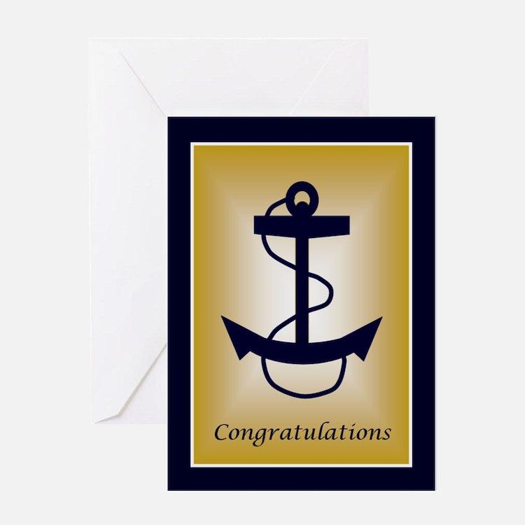 Blue &Amp; Gold Anchor Congratula Greeting Card