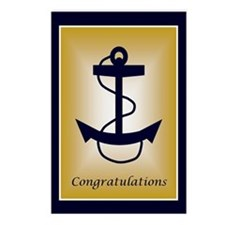 Blue & Gold Anchor Congratula Postcards (Packa