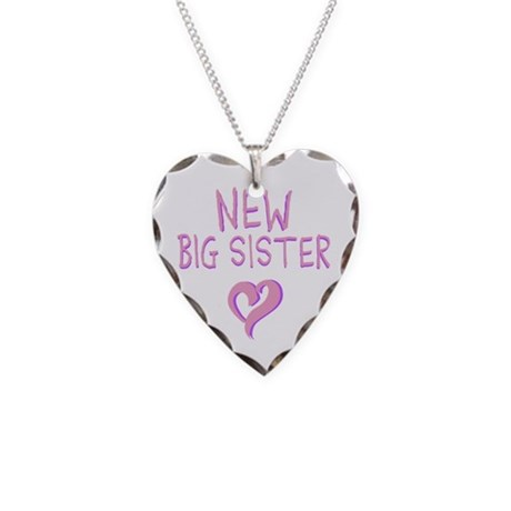 New Big Sister Necklace Heart Charm