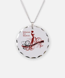 Unique Midwife Necklace Circle Charm