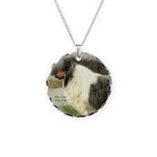 Blue Merle Collie Art Necklace Circle Charm