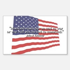 JFK: End to War Quote Rectangle Decal