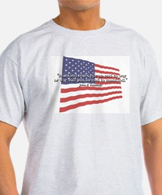 JFK: End to War Quote Ash Grey T-Shirt