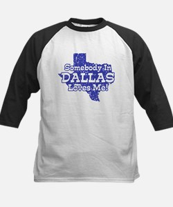 Somebody In Dallas Loves Me Kids Baseball Jersey