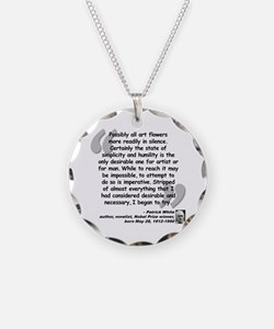 White Try Quote Necklace