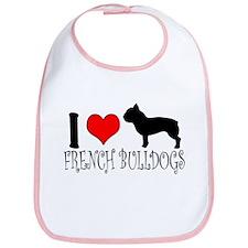 I Heart/Love French Bulldogs Bib