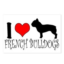 I Heart/Love French Bulldogs Postcards (Package of