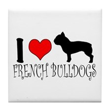 I Heart/Love French Bulldogs Tile Coaster