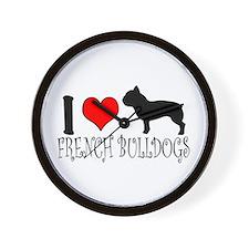 I Heart/Love French Bulldogs Wall Clock