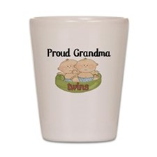 Proud Grandma Twins Shot Glass