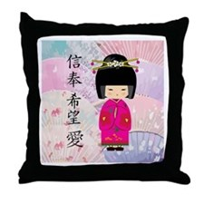 Geisha Faith-Hope-Love Throw Pillow