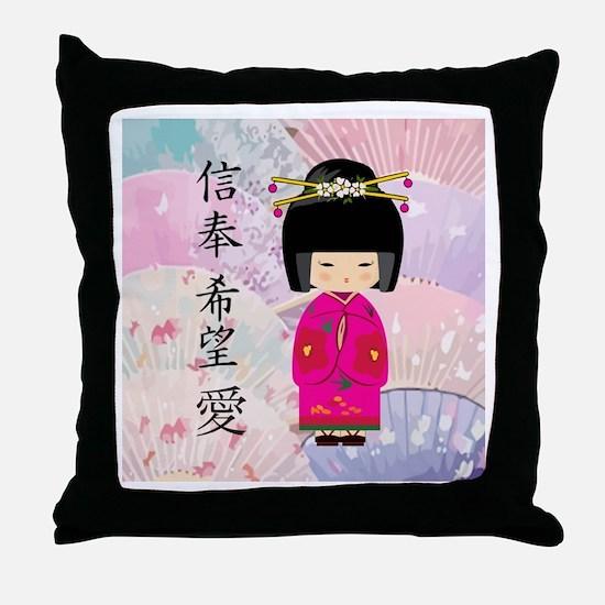 Geisha Faith-Hope-Love Throw Pillow