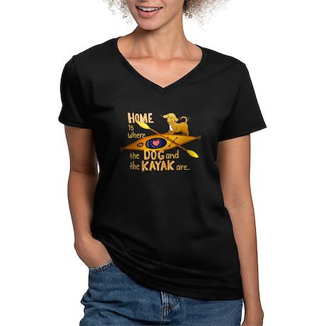 Dog and Kayak Women's V-Neck Dark T-Shirt