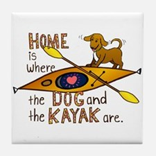 Dog and Kayak Tile Coaster