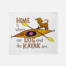 Dog and Kayak Throw Blanket