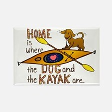 Dog and Kayak Rectangle Magnet